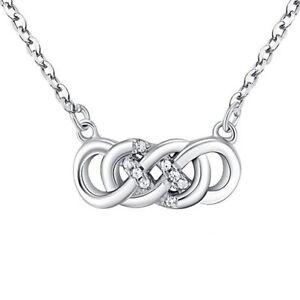 Doppio-Infinity-Eternita-Massiccio-925-Argento-Sterling-Necklace-Cz-Extension