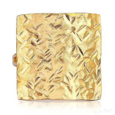 Yellow Gold Filled 14k Oversize Ring Warranty Sizeable Tapping Handmade Artisan