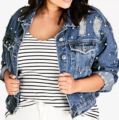 Stud Embellished Blue Lightly Distressed Washed Denim Jean Jacket XS S M