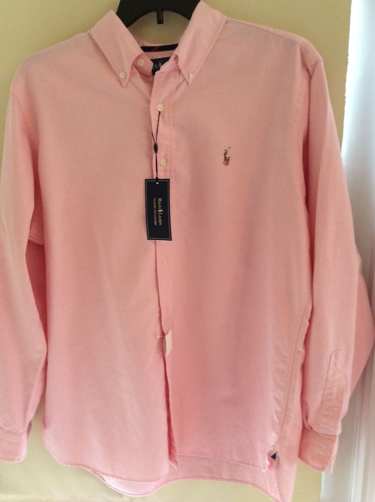 NEW RALPH LAUREN BUTTON SHIRT PINK COTTON BROADCLOTH CLASSIC LONG SLEV PONY 2XL