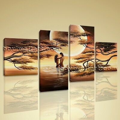 Romantic Moon Lover Picture Large Stretched Canvas Prints Wall Art Abstract