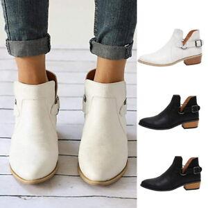 Damen-Leder-Stiefel-Stiefeletten-Ankle-Boots-Schuhe-Blockabsatz-Freizeitschuhe