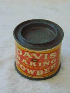 antique vintage DAVIS BAKING POWDER TIN litho can sample size 1 oz