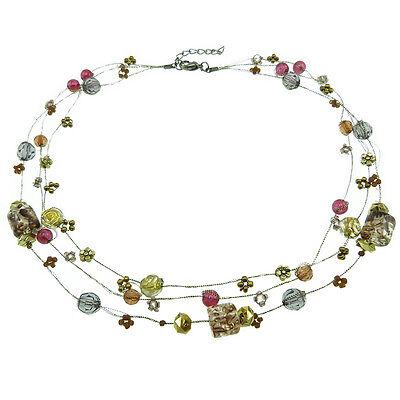 fil doré perles dorées et violettes Collier femme Ras De Cou violet