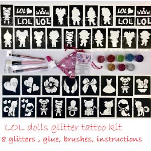 Kit-de-tatuaje-purpurina-lol-Munecas-8-Brillos-1-Cepillos-de-pegamento-o-recargas-Menu-Desplegable