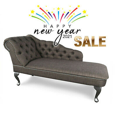 Grey Tufted Buttoned Chesterfield Chaise Lounge Sofa Bedroom Accent Chair Bench Ebay