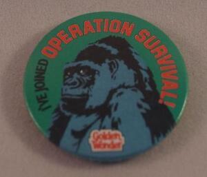 Vintage-Golden-Wonder-I-039-ve-Joined-Operation-Survival-Pin-Pinback-Button-Badge