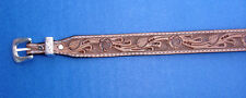 Western Equestrian Cowboy/Cowgirl Top Grain Tooled Natural Leather HAT BAND 3/4""