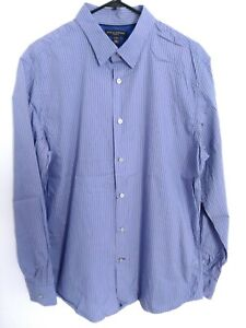 Banana-Republic-slim-fit-homme-Large-Bleu-Violet-a-Rayures-Chemise-habillee-a-manches-longues