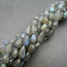 "Labradorite Faceted Top Drilled Drop Beads 15"" Strand Semi Precious Gemstone"
