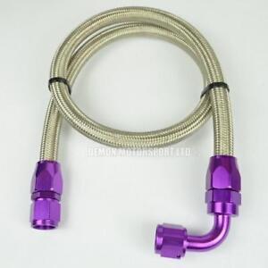 AN8-11mm-7-16-034-Braided-Fuel-Hose-Assembly-61cm-Oil-Fuel-Line-Purple
