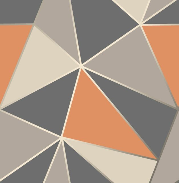 NEW Modern Geometric Apex Wallpaper Orange Grey Fine Decor FD42002
