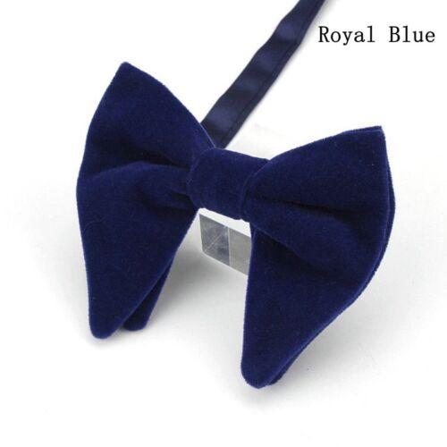 Men Velvet Solid Color Oversized Bowtie Wedding Party Tuxedo Business Bow Tie