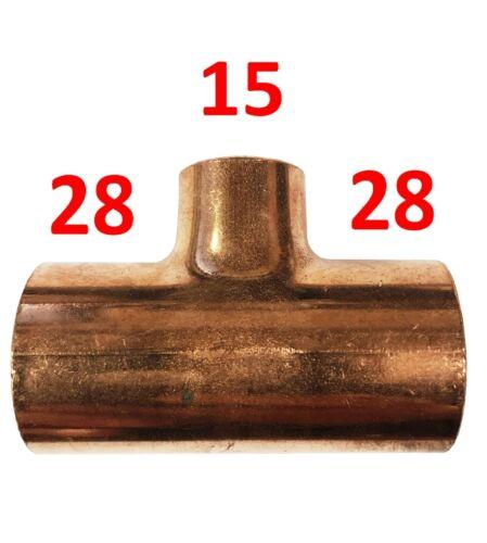 28 mm x 28 mm x 15 mm Reducing Tee-fin fil-Pack de 5