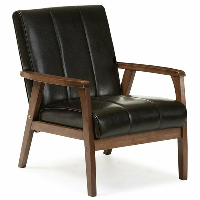 Admirable Baxton Studio Nikko Faux Leather Accent Chair In Black And Walnut Pabps2019 Chair Design Images Pabps2019Com