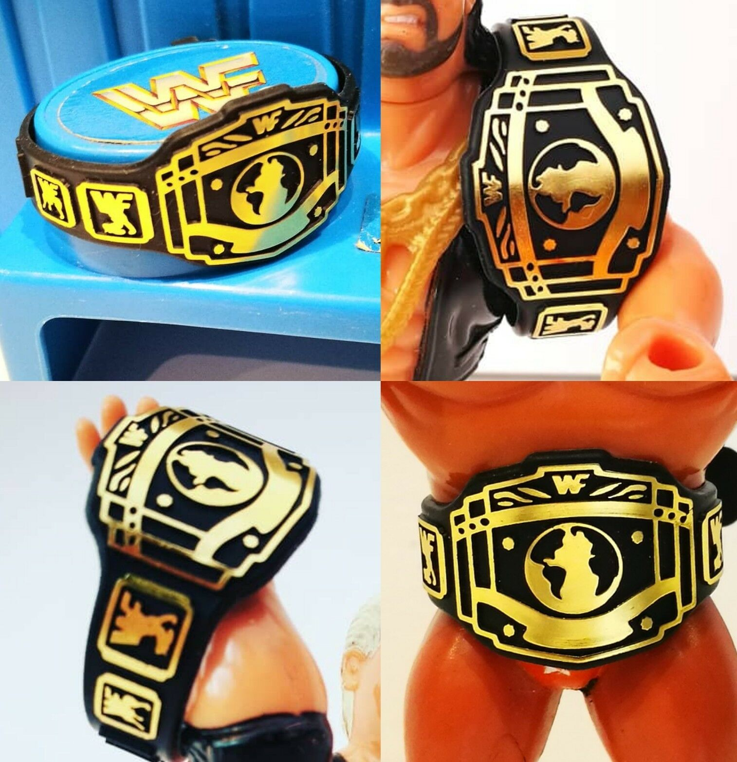 Belts for WWF WWE Hasbro Galoob  Wrestling Figures - 4xIC Retro Belts WFW