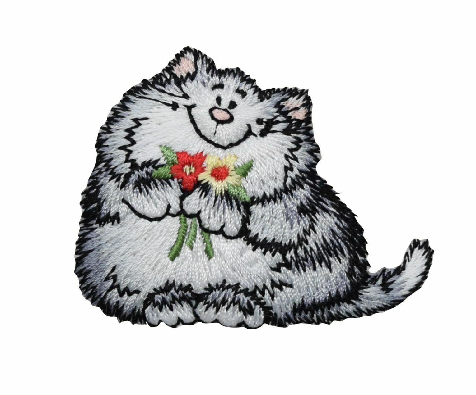 Ragamuffin Cat w// Flowers Embroidery Patch