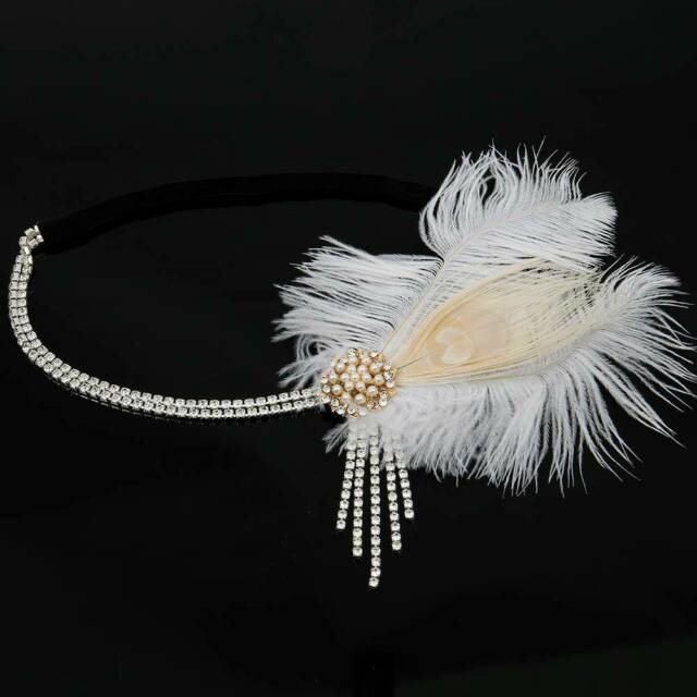 1920s Headpiece Feather Flapper Headband Great Gatsby Headdress Vintage Prom by Ebay Seller