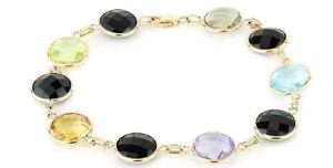 14k-Oro-Amarillo-Negro-onice-y-piedras-preciosas-Pulsera-18-4cm