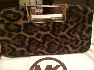 4bcb21637b367d Image is loading MK-Berkley-Large-Leopard-print-Clutch-in-leather-