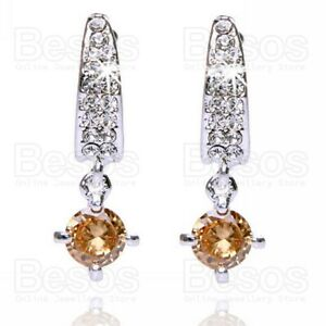 CRYSTAL-drop-EARRINGS-nude-champagne-citrine-CZ-cubic-zirconia-SILVER-TONE-UK