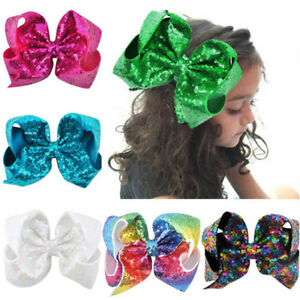 8 inch Large Big Girl Baby Sequin Hair Accessory Knot Hair Bow Alligator Clip