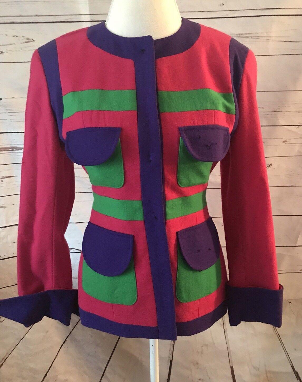 Gemma Kahng New York Size 6 Pure Wool Blazer Vintage 90s Pink Green Purple Rare