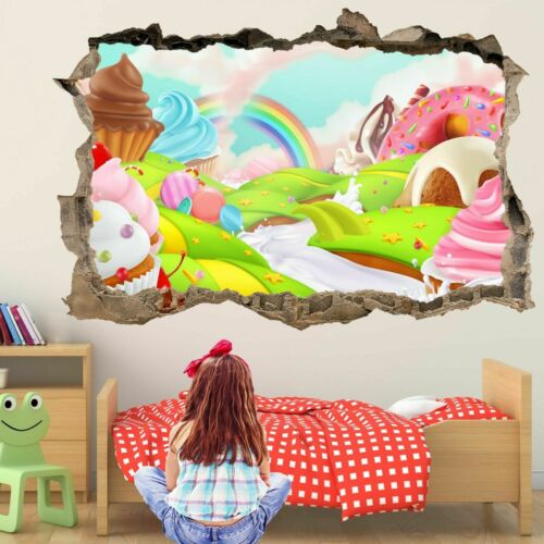 Fairy Cake Sweet Land Wall Art Stickers Mural Decal Kids Rainbow Cupcakes Er26 Home Décor Stickers