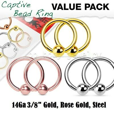 """6pcs Surgical Steel Seamless Hoop Labret Earring Septum Ring 14G 3//8/"""" to 5//8/"""""""