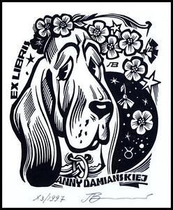 Leonenko Vasyl 1997 Exlibris X3 Dog Hund Pies Flowers Animals 790a - Dabrowa Bialostocka, Polska - Leonenko Vasyl 1997 Exlibris X3 Dog Hund Pies Flowers Animals 790a - Dabrowa Bialostocka, Polska