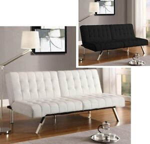 Convertible Futon Leather Sofa Bed Futons Couch Metal Legs Lounger ...