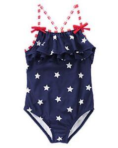 8ea46f91616 NWT Gymboree Ruffled Stars & Stripes One-Piece Swimsuit Patriotic ...