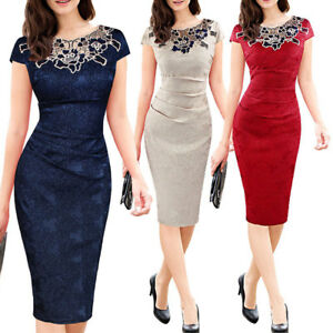 Women-Contrast-Party-Cocktail-Wear-To-Work-Office-Business-Evening-Pencil-Dress