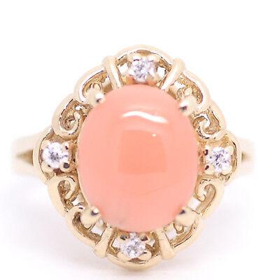 Genuine Natural Hawaiian Oval Cabochon Pink Coral CZ Ring 14k Yellow Gold Ring