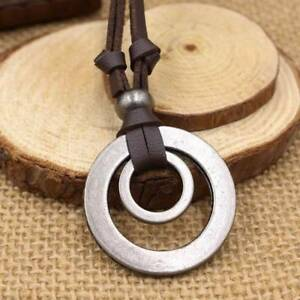 Men-Women-Double-Ring-Adjustable-Leather-Cord-Necklace-Pendant-Jewelry-B