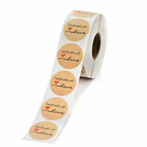 """50 Handmade with love stickers 1.5/"""" crafters envelope seal bake sale craft fair"""