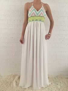 Women-039-s-Halter-BOHO-White-Summer-Evening-Casual-Maxi-Long-Dress-Size-10-12-14