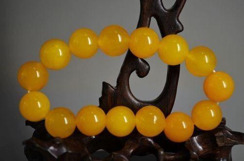 Beautiful Chinese Yellow ShouShan Stone Hand-Carved Bracelet