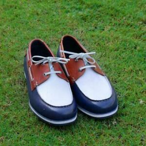 Leather-Shoes-Men-039-s-Handmade-Casual-Blue-amp-White-Genuine-Calf-Leather-Deck-Shoes