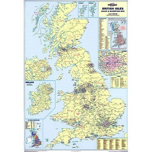 Large Laminated Wall Road Map Poster Of Great Britain GB UK Map - Large wall map of uk