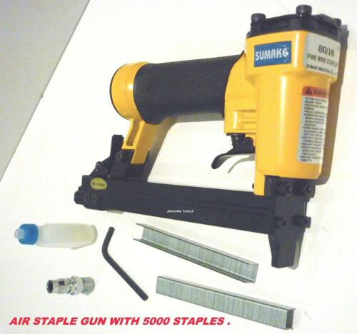 AIR POWERED STAPLE GUN 8016 WITH A BOX OF 5,000 STAPLES 10 mm NEW.