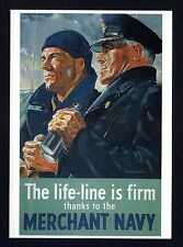 WW ll ~ MERCHANT NAVY ~ Government War Poster  ~ Art Repro. Card