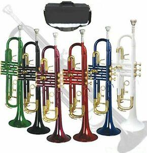 new concert band bb trumpet in gold silver black blue white red purple green ebay. Black Bedroom Furniture Sets. Home Design Ideas