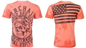 Details about ARCHAIC by AFFLICTION Mens T-Shirt RACER American Customs USA  FLAG Biker $40 e