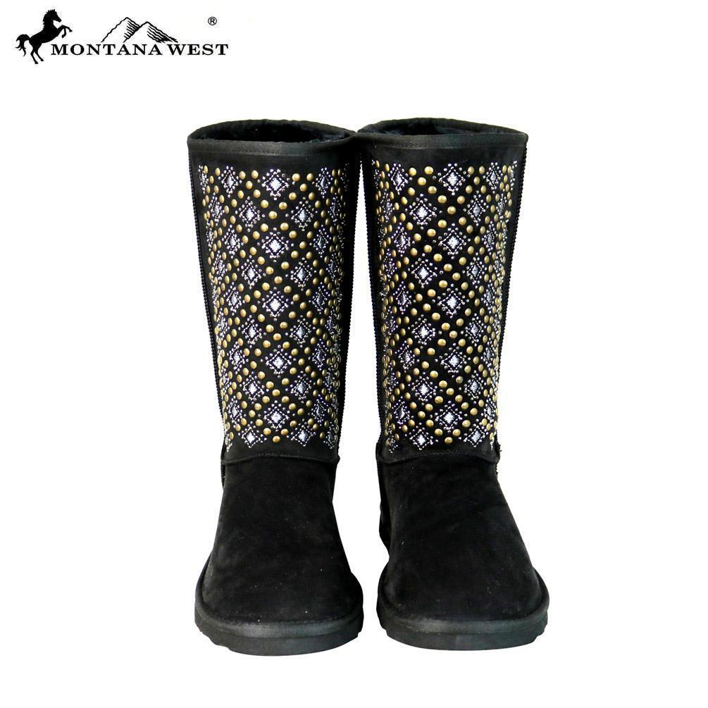 Montana West Tribal Embroidered Collection Boots BST-104-Black