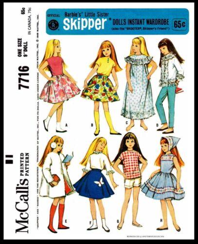 #7716 McCall/'s SKIPPER Fashion Doll Garments Fabric Sewing Pattern Barbies Sis