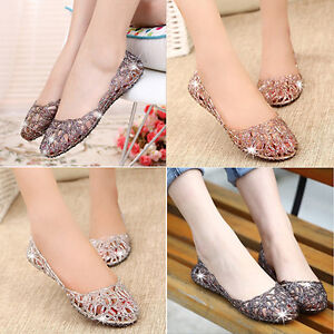 Women-Slip-On-Sliders-Hollow-out-Flat-Diamante-Sandals-Jelly-Mesh-Shoes-Sizes