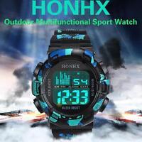 NEW Waterproof Men's Boy LCD Digital Stopwatch Date Rubber Sport LED Wrist Watch