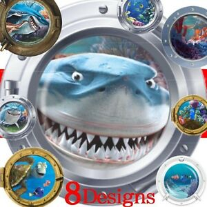 Sealifes-nemo-coral-shark-fish-submarine-portholes-wall-stickers-decoration