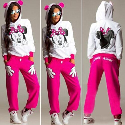 Women Mickey Mouse Tracksuit Set Hoodie Sweatshirt Tops Pants Sports Casual Suit